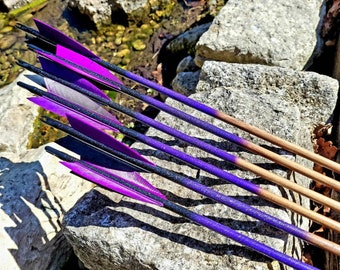 """Purple Galaxy - Handmade Wooden Arrows. Traditional archery. Suitable for longbow, horsebow, recurve. From 28"""" to 32"""". A set of six."""
