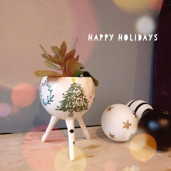 Decorative Ceramic Planter Merry Christmas Plant Pot