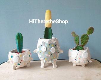The Scruffy Face Collection -Handmade ceramic plant pot. Succulent pot cactus pot. Pen holder. Garden decor. Gift idea. Planter. Home décor.
