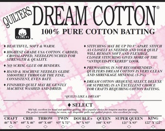 """Throw-sized Quilters Dream Cotton Select mid-loft Batting (Natural) 60""""x60"""""""