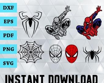 Spiderman Svg, Spiderman Clipart, Spiderman Silhouette, SVG Files for Silhouette Cameo, Spiderman Cutting Files, Dxf, Eps, Pdf, Png, Svg