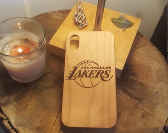 NBA Los Angeles Lakers Wood Carved Phone Case Engraved Cover iPhone X 7 7 Plus 8 8 Plus Samsung Galaxy S8 Gift