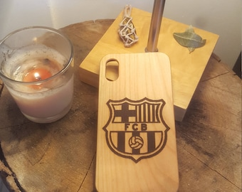 Barcelona La Liga Wood Carved Phone Case Engraved Cover iPhone X 7 7 Plus 8 8 Plus Samsung Galaxy S8 Gift