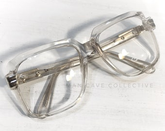 07ae896ea36d 70 s NOS Thick Square Eyeglass Frames 1970 s Vintage Gazelle Eyewear Nerdy  Hipster Chunky Geek Glasses Crystal Clear Cazal Inspired