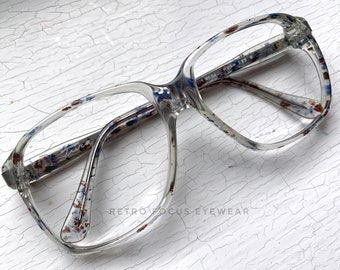 be98af4b7e 53-17-140 Tura Speckled Blue Maroon Spots MOD 333 70 s Square Clear  Eyeglass Frames True Vintage NOS Narrow Bridge Eyewear Glasses Unisex