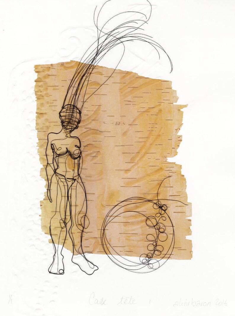 ORIGINAL ARTWORK  Casse tête_Birch bark  Framed image 0