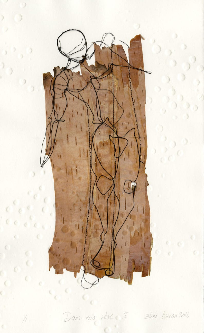 ART_OEUVRE UNIQUE  Original work  Birch Bark  Framed image 0