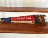 Vintage Carpenters Hand Saw- 26 quot - 1930s Disston Keystone