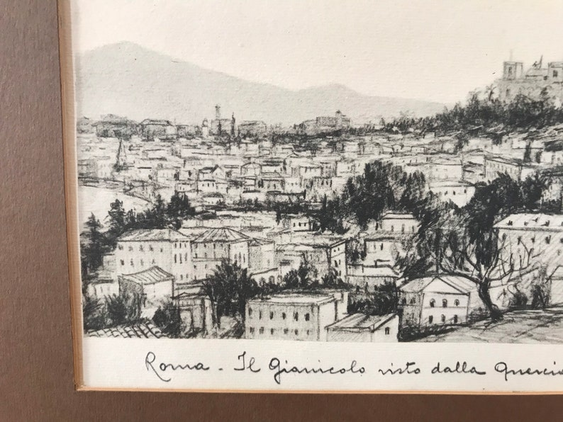 Signed Etching Original Etching by Italian Artist Antonio Carbonati Gianicola Hill Rome