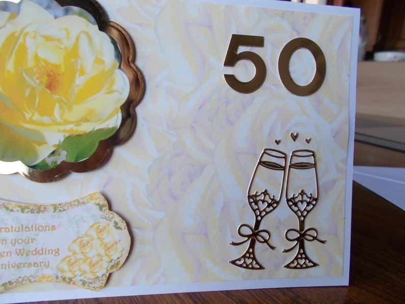 50th wedding 50th anniversary card golden wedding card golden wedding anniversary