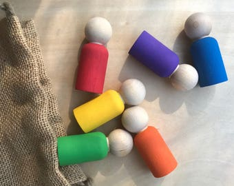 Rainbow Peg Dolls, Waldorf Toys, Wooden Gnomes, Waldorf Gnomes, Peg Dolls, Wooden Toys, Wooden Gifts, Montessori, Waldorf Education