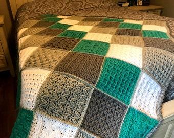 Crochet Blanket Pattern   Square Sampler Crochet Blanket   Crochet Cables   Crochet Squares   Textured Crochet   Throw Blanket   Patchwork