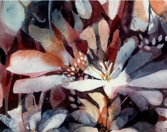 "Judith Stein Artist Signed Original OOAK Watercolor Woodland Flowers 10 x 14 ""Woodwind"""