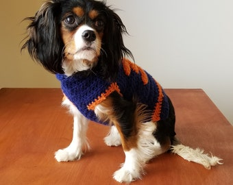 Dog Sweater Hand Crocheted Custom Size and Custom Colors Any Sports Team Colors Available