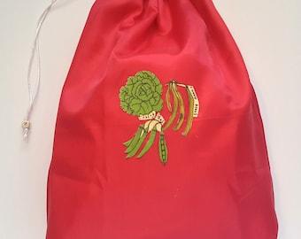 Reusable Produce Bag RED, Store lettuce fridge, Keep produce fresh longer, Fruit vegetable storage, Grocery Bag,Zero Waste,Green storage bag