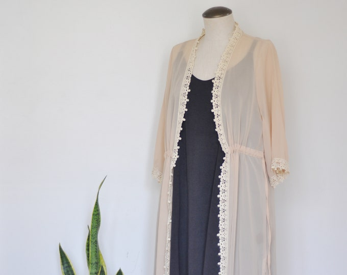 Vintage Lace Trim Kimono
