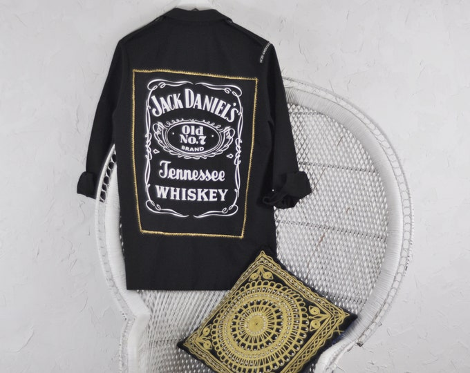 Vintage Military Jacket with Custom Jack Daniels Patch