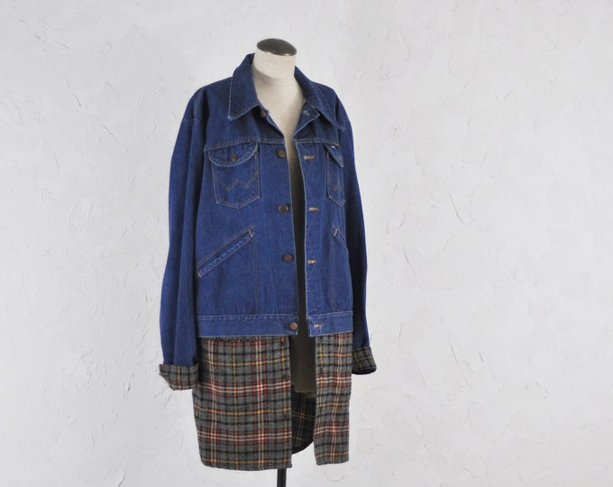 Vintage Wrangler Denim Jacket with Custom Flannel