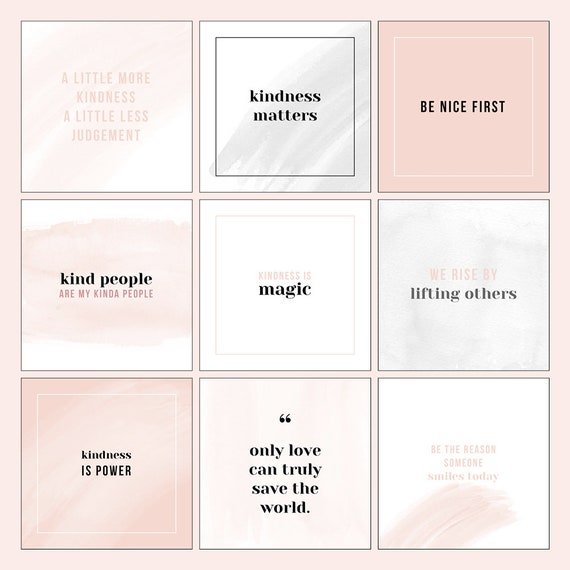 Photoshop template Instagram quote design pack - for small business Social  Media Instagram - Black Blush Watercolour Instant download
