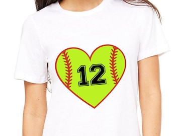 Custom Softball Heart womens shirt, Softball number, Softball mom shirt