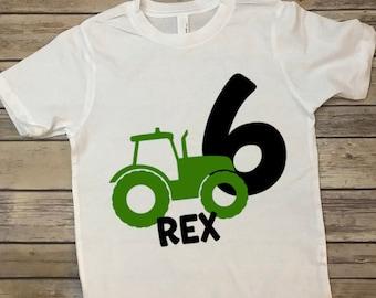 eceac33c Tractor Birthday T-shirt, kids bday shirt, custom birthday shirt with age, John  Deere birthday