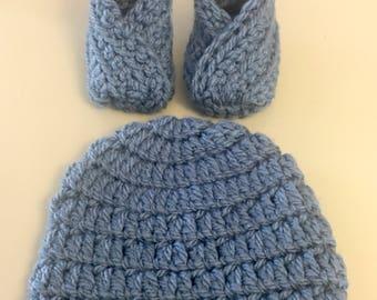 Preemie Blue Crochet Hat and Wrap Bootie Set
