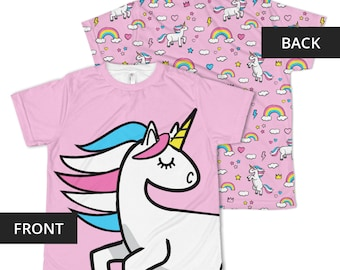 Youth Unicorn T-shirt | Girls | Teen | Rainbows | Shirt | Graphic | Tee | Crowns | Gift for Her | Birthday | Pattern