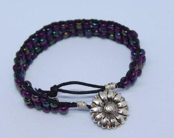 Purple Beaded Ladder Wrap Bracelet