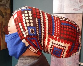 11 inches long closed soc with black mask Loc Dreadlock Headband loc dread sock wrap turban scarf soc for locs, knit fabric.