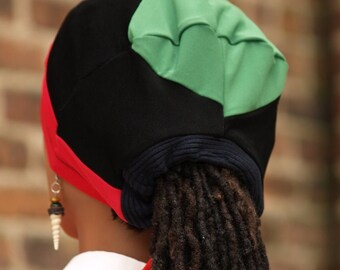 Pan African Stay On Ponytail Surgical Scrub Cap/Scrub Hat For Locs and Braids standard choose head circumference