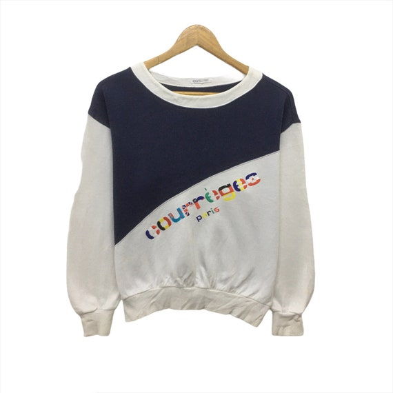 Rare! Vintage Courreges Sweatshirt Crewneck Embroi