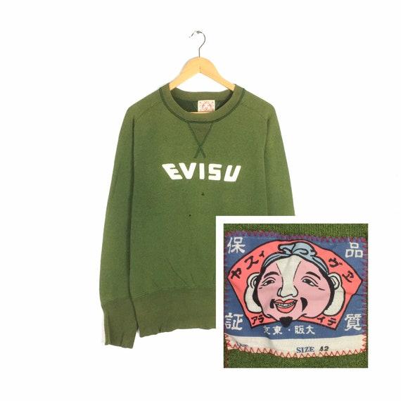 RARE!!! Vintage EVISU Sweatshirt Crewneck Biglogo