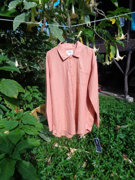 """NWT Bust 48"""" FLAX S orange/pink linen long sleeved"""