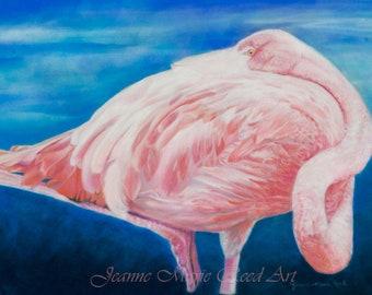 "Bird Art | ""In The Pink"" | Ocean | Flamingo art | Pastel Print | Blue, Pink, White | San Diego, CA"