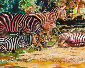"Wildlife Art  ""Horses of a Different Color"" | Watercolor Print | Zebra Art | Green, Gold, Black, White, Orange | San Diego Zoo"