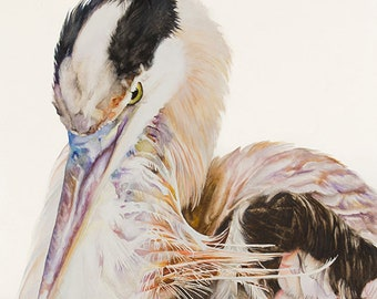 "Bird Art  ""Great Blue"" | Heron | Ocean | Watercolor Print | Blue, Purple, Orange, Black, White | La Jolla, CA"