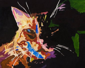 """Cat Art  """"Kaleido-Cat"""" 