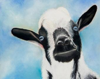 "Goat Art  ""Bella"" | Pastel Art Print | Black Blue White | Farm Art | Signed and Numbered | Black & White Goat"