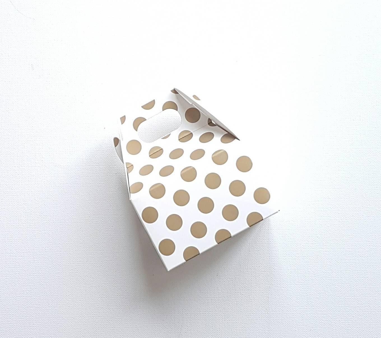 12 Polka Dot Mini Gable Boxes - Metallic Gold - Metallic Silver ...
