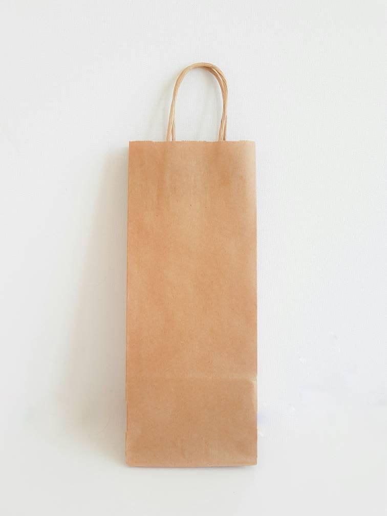 12 Recycled Kraft Handle Bags5x3x12 Inch Wine Paper Bag Wedding