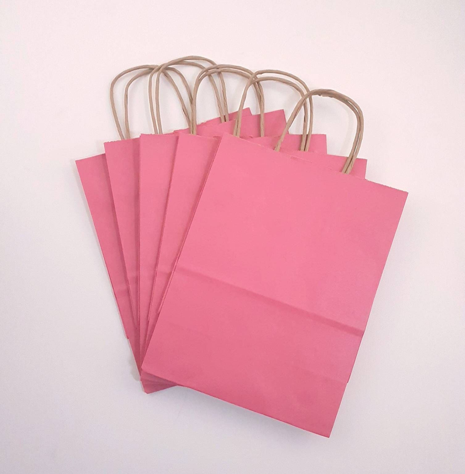 50 Pink Gift Bags, Shopping Bags, Paper Bags, Wedding Gift Favor ...