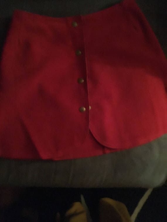 1960's Red Suede Mini Skirt