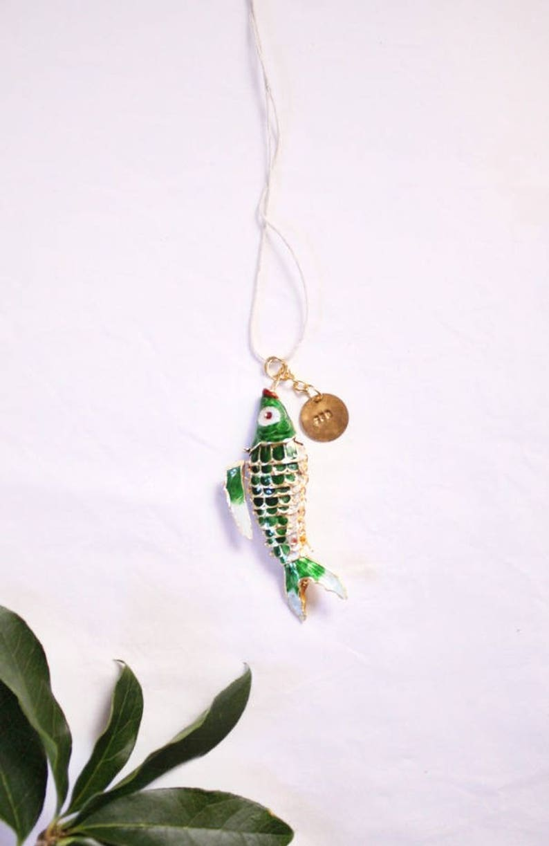 Stamped Fishing Mothers Day Gift Fathers Day Pendant Green Keychain Necklace Ocean Bivins Fish Emerald Cloisonn\u00e9 Birthday