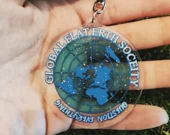 Flat earth society keychain