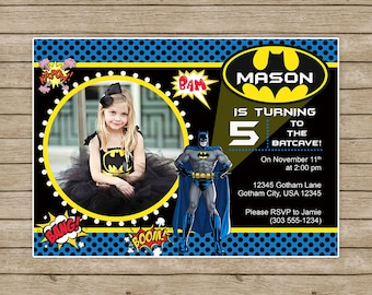 Batman Birthday InvitationBatman BirthdayBatman InvitesBatman Invitation With Picture