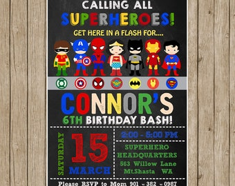 Superhero Birthday InvitationSuperhero Boy InviteSuper Hero Invitation