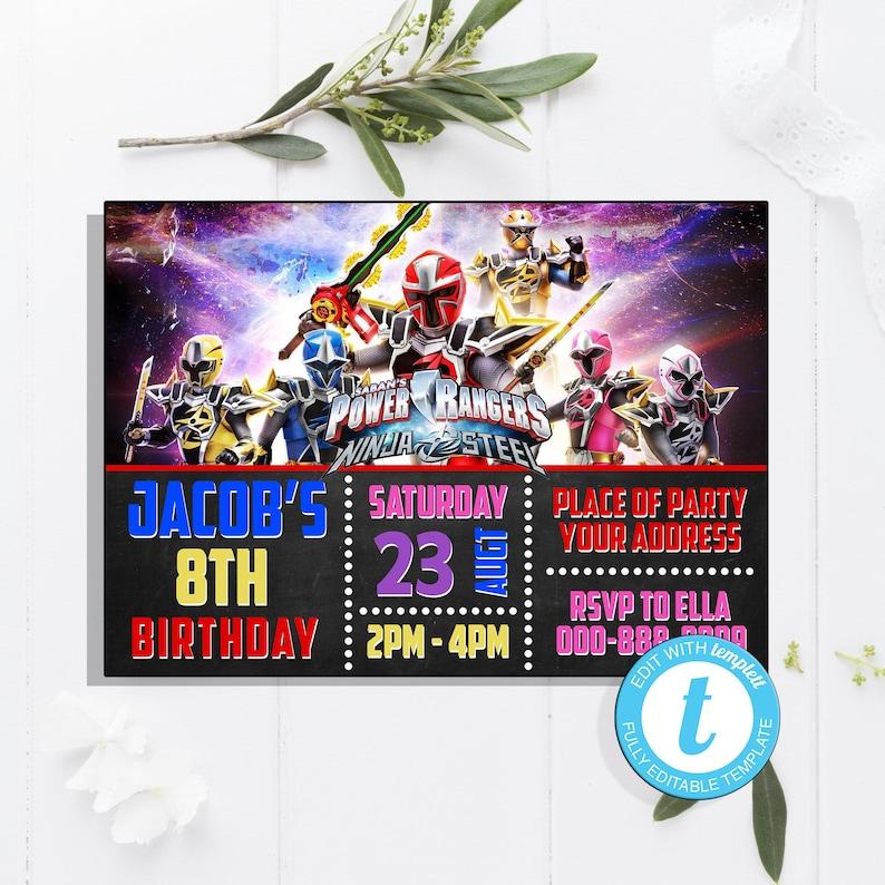 Power Rangers BirthdayPower InvitationPower PartyPower Birthday Edit With Templett