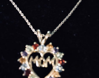 Mom's heart silver pendant with multiple color stones