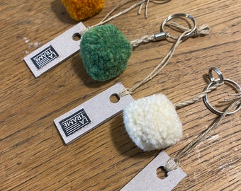 Key doors small plain square pompon, handcrafted handmade in wool and linen