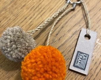 Duo duo key rings of plain pompoms, handcrafted in wool and linen